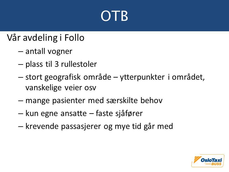 OTB Vår avdeling i Follo antall vogner plass til 3 rullestoler