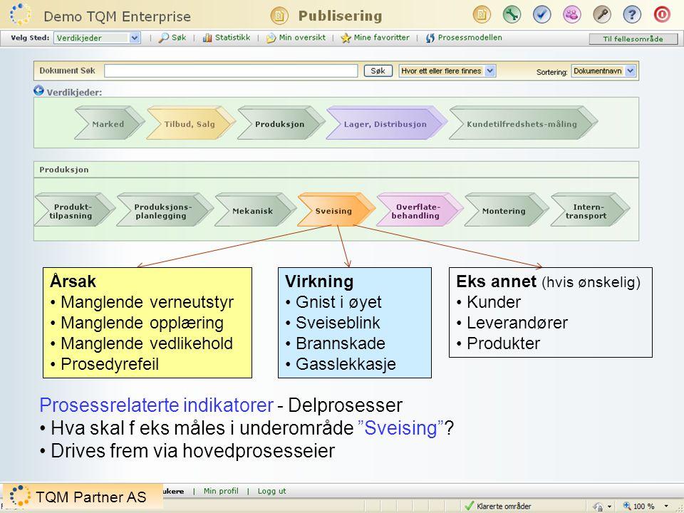 Prosessrelaterte indikatorer - Delprosesser