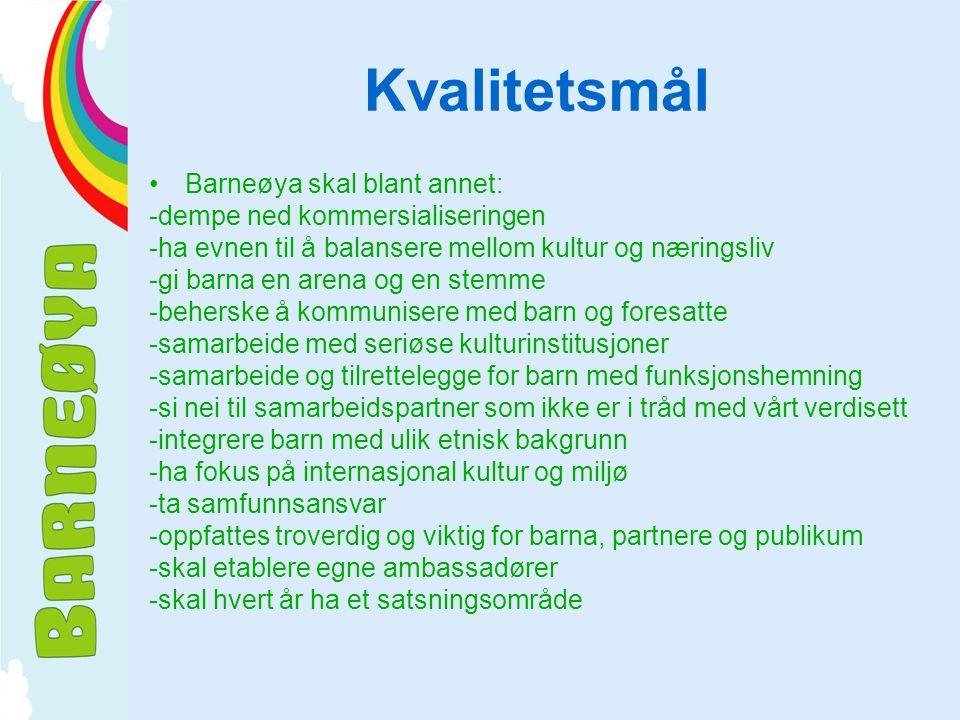 Kvalitetsmål Barneøya skal blant annet: -dempe ned kommersialiseringen