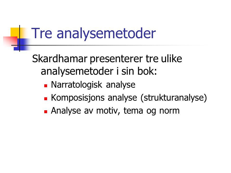 Tre analysemetoder Skardhamar presenterer tre ulike analysemetoder i sin bok: Narratologisk analyse.