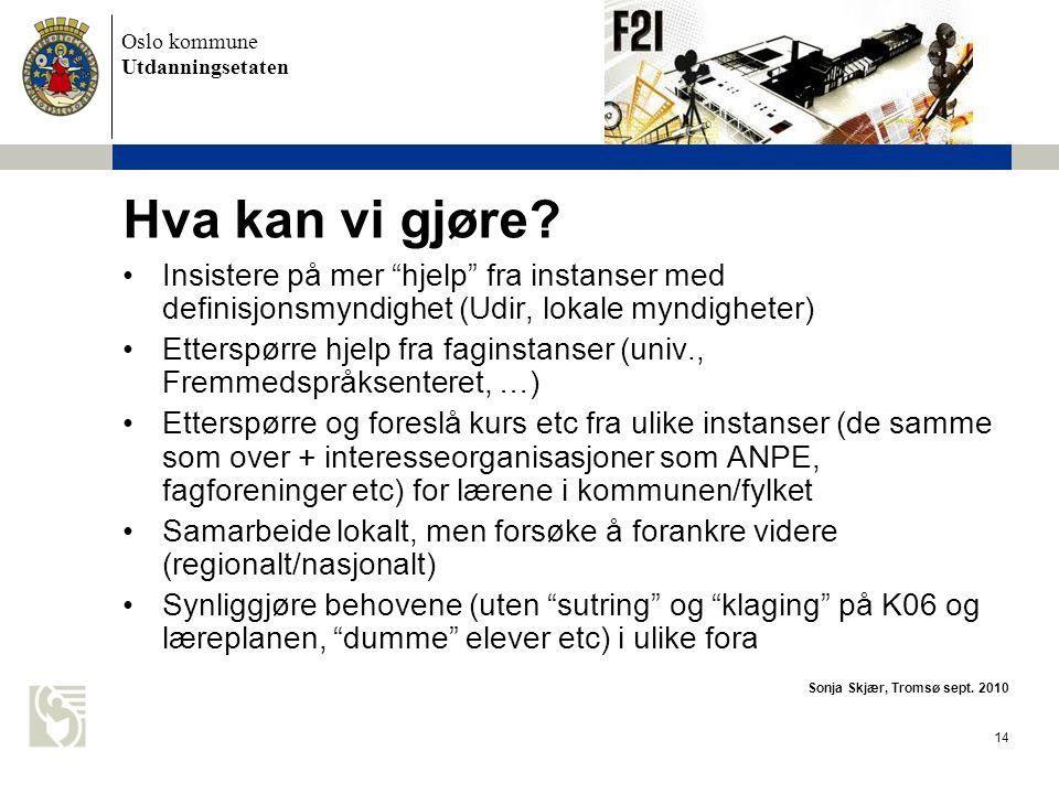 Hva kan vi gjøre Insistere på mer hjelp fra instanser med definisjonsmyndighet (Udir, lokale myndigheter)