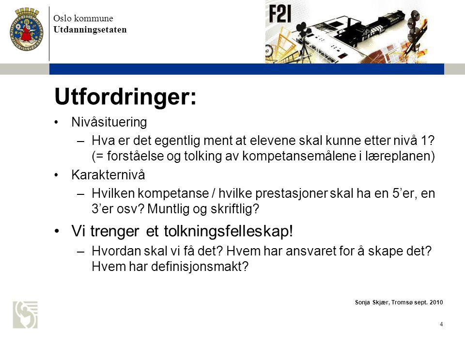 Utfordringer: Vi trenger et tolkningsfelleskap! Nivåsituering