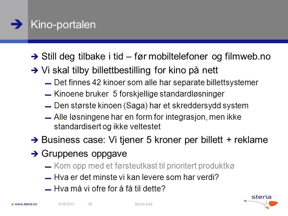 Kino-portalen Still deg tilbake i tid – før mobiltelefoner og filmweb.no. Vi skal tilby billettbestilling for kino på nett.
