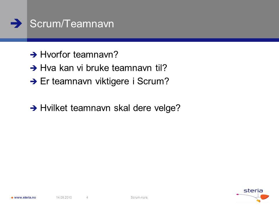 Scrum/Teamnavn Hvorfor teamnavn Hva kan vi bruke teamnavn til