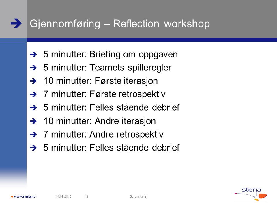 Gjennomføring – Reflection workshop