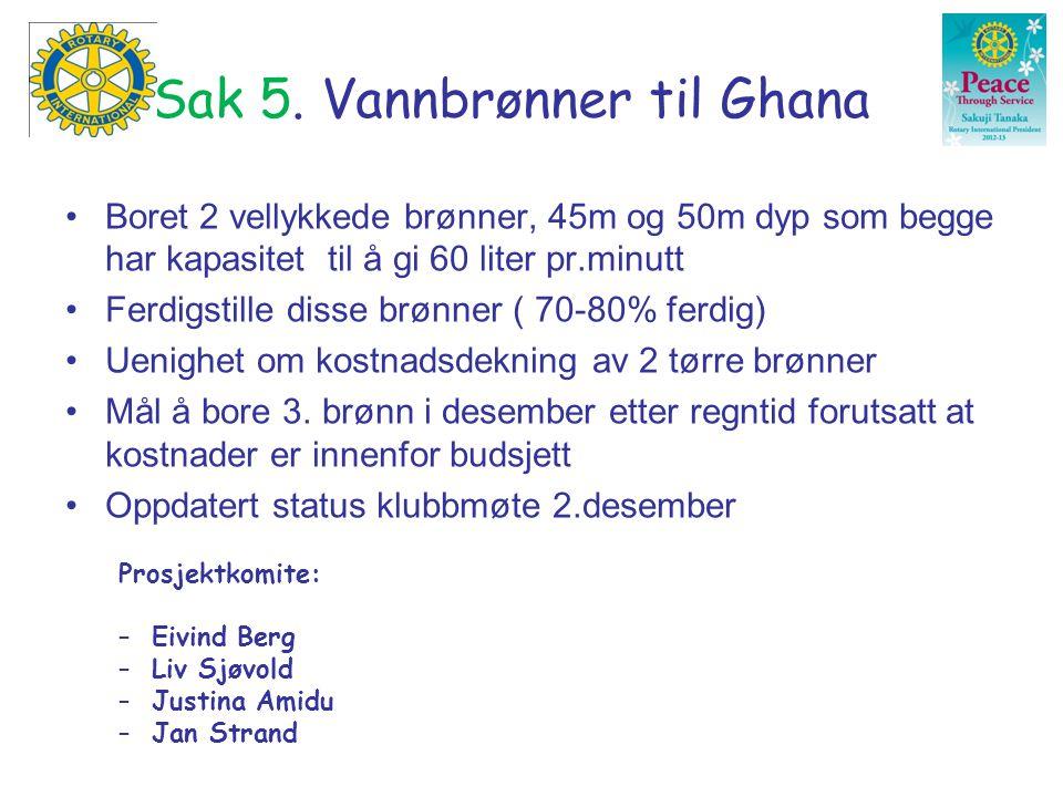 Sak 5. Vannbrønner til Ghana