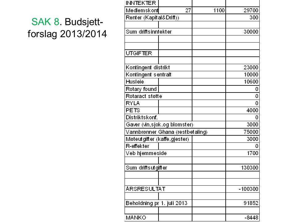 SAK 8. Budsjett-forslag 2013/2014