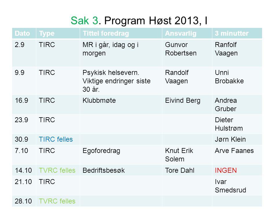 Sak 3. Program Høst 2013, I Dato Type Tittel foredrag Ansvarlig