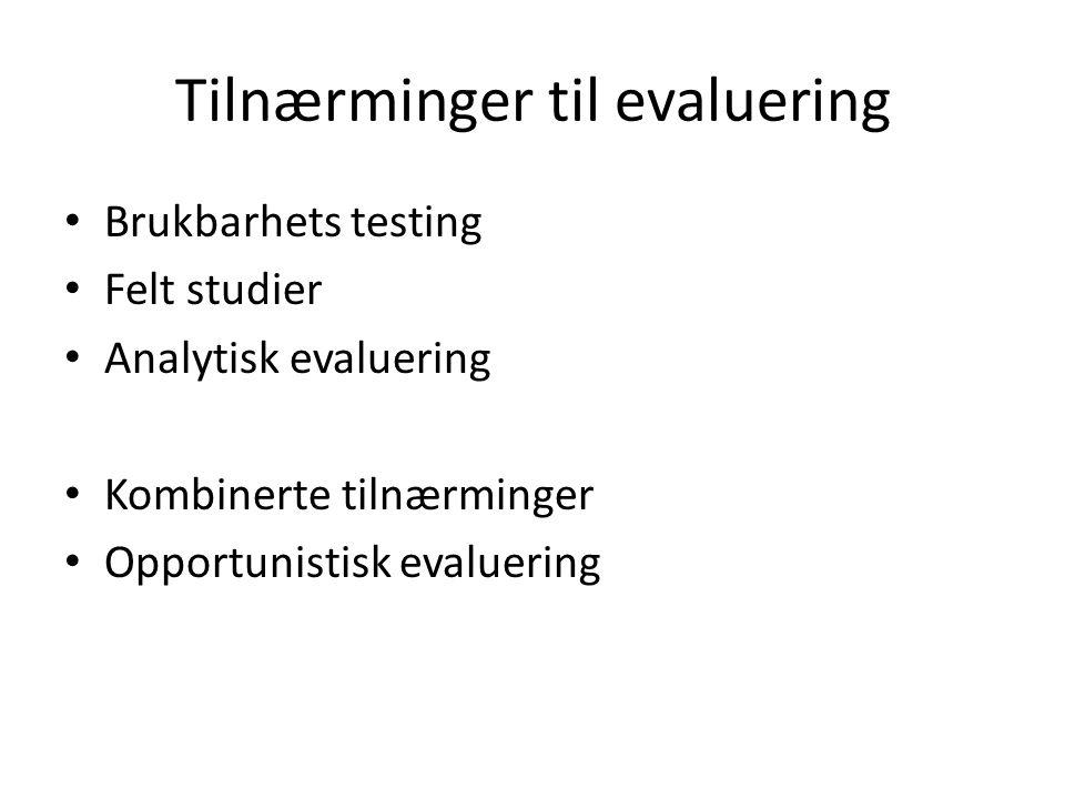 Tilnærminger til evaluering