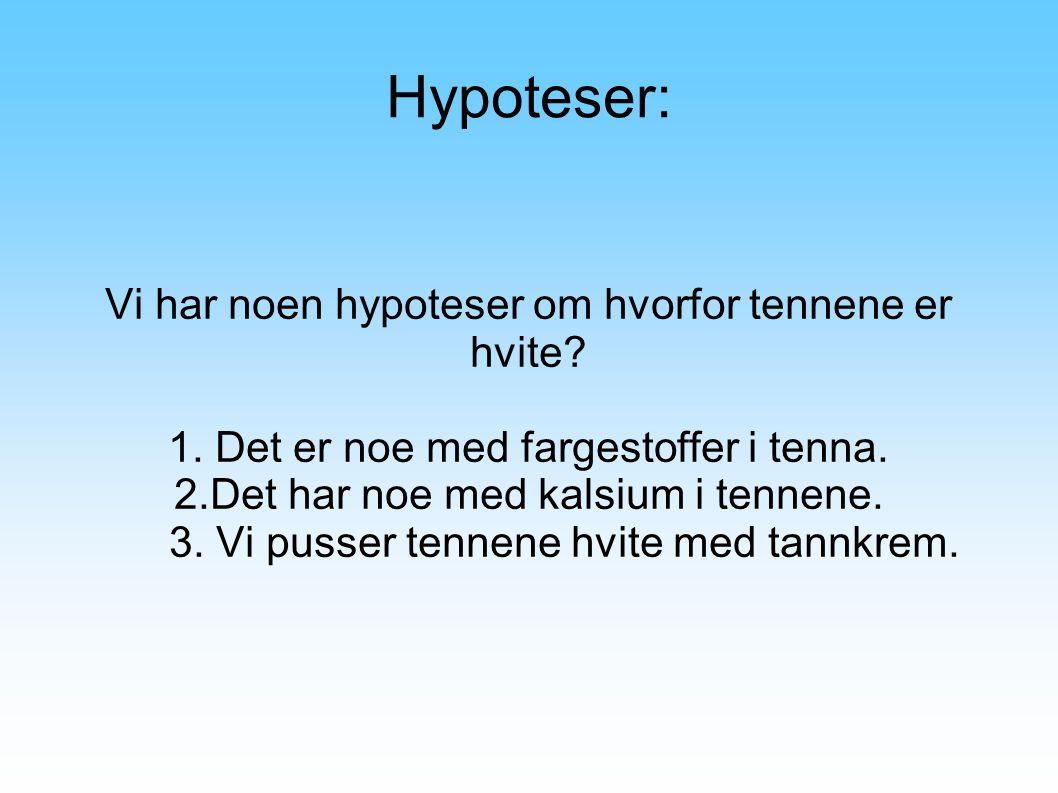 Hypoteser: Vi har noen hypoteser om hvorfor tennene er hvite