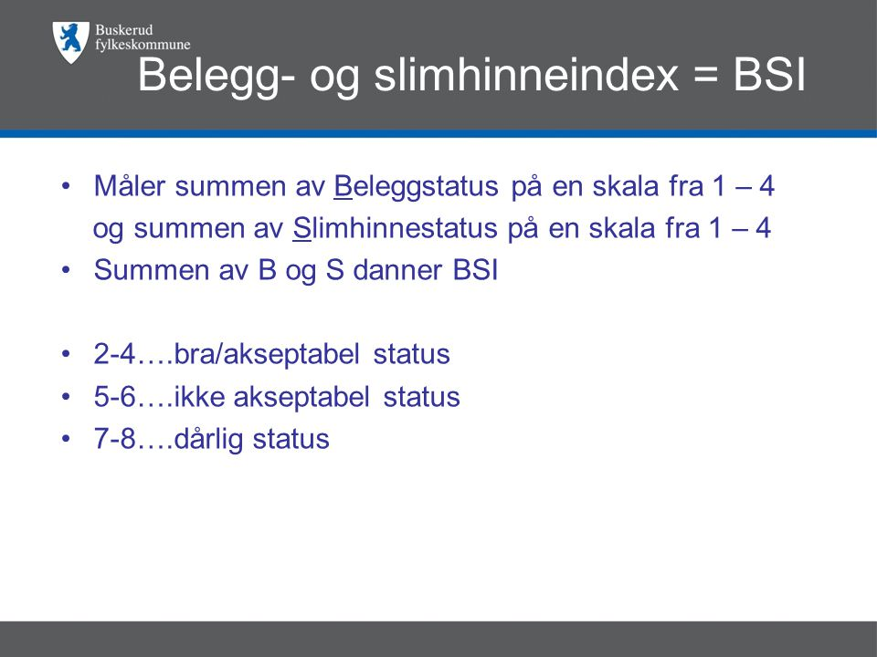 Belegg- og slimhinneindex = BSI