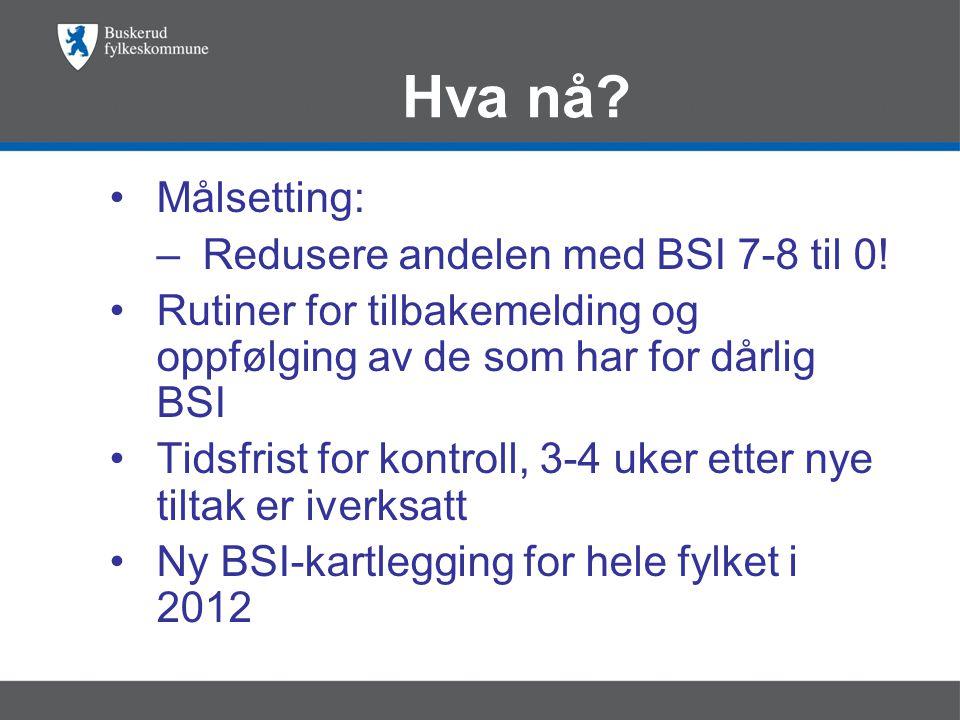 Hva nå Målsetting: Redusere andelen med BSI 7-8 til 0!