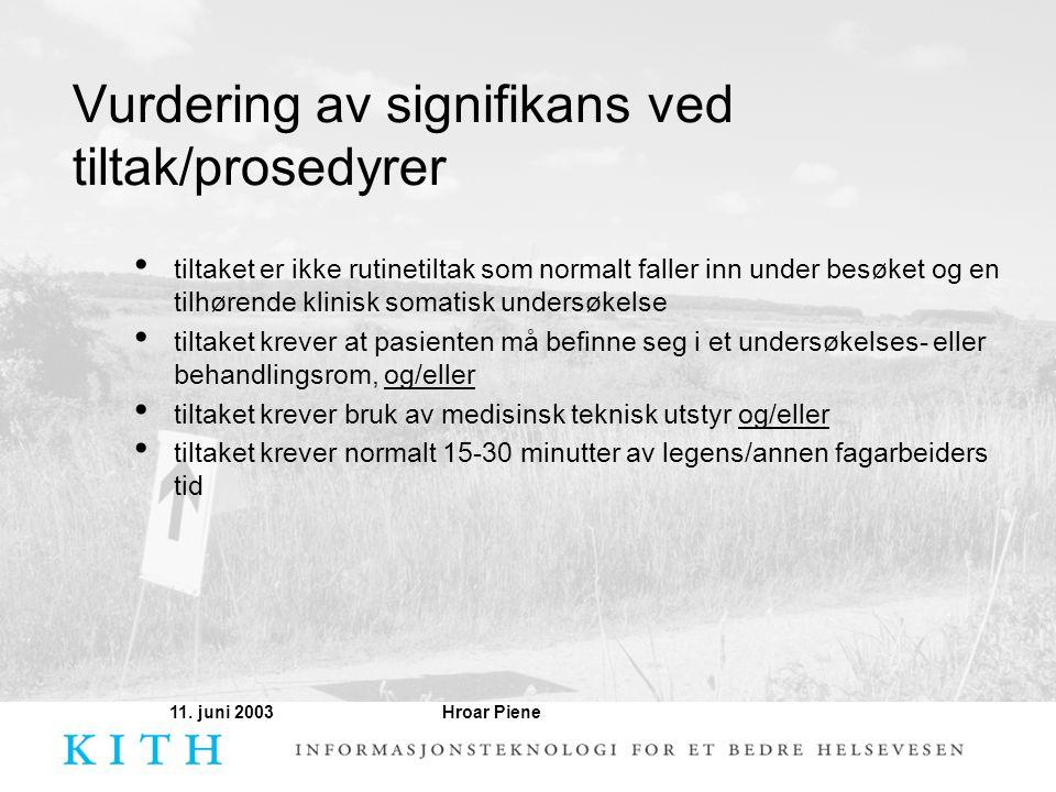 Vurdering av signifikans ved tiltak/prosedyrer