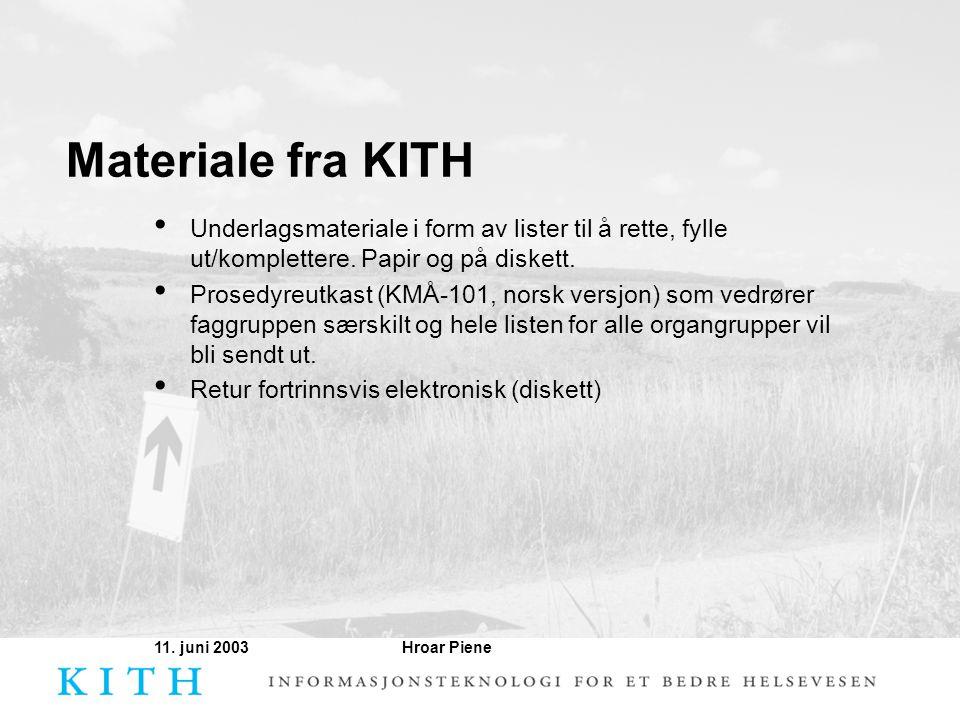 Materiale fra KITH Underlagsmateriale i form av lister til å rette, fylle ut/komplettere. Papir og på diskett.