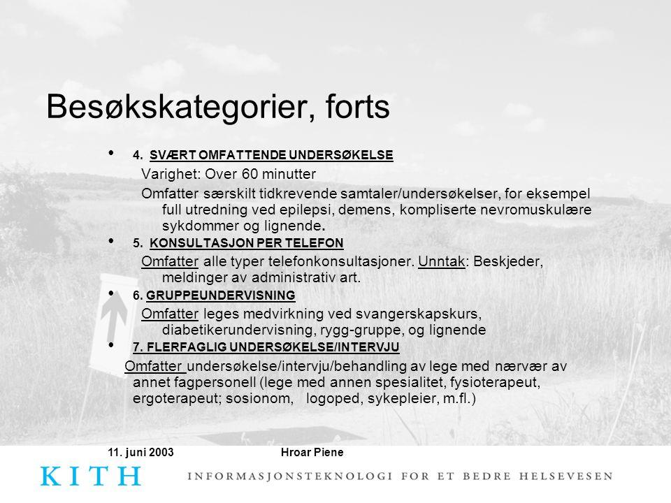 Besøkskategorier, forts