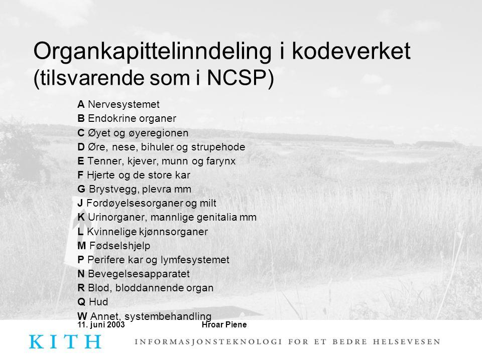 Organkapittelinndeling i kodeverket (tilsvarende som i NCSP)