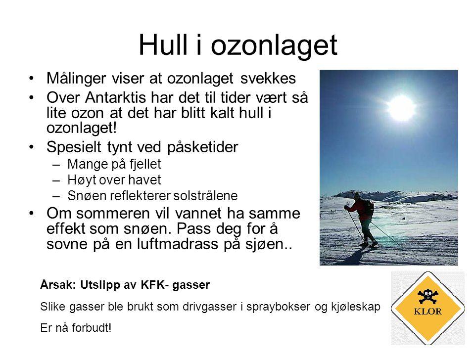 Hull i ozonlaget Målinger viser at ozonlaget svekkes