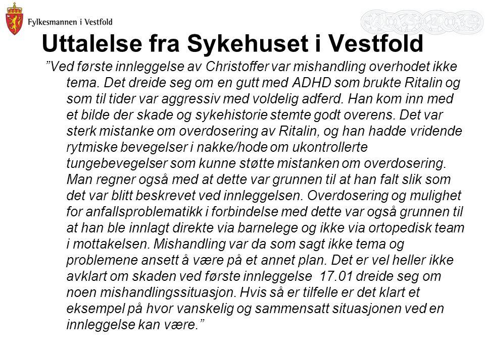Uttalelse fra Sykehuset i Vestfold