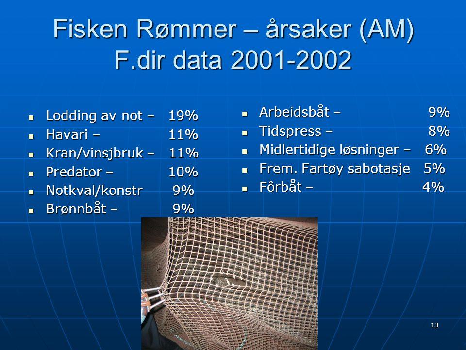 Fisken Rømmer – årsaker (AM) F.dir data 2001-2002