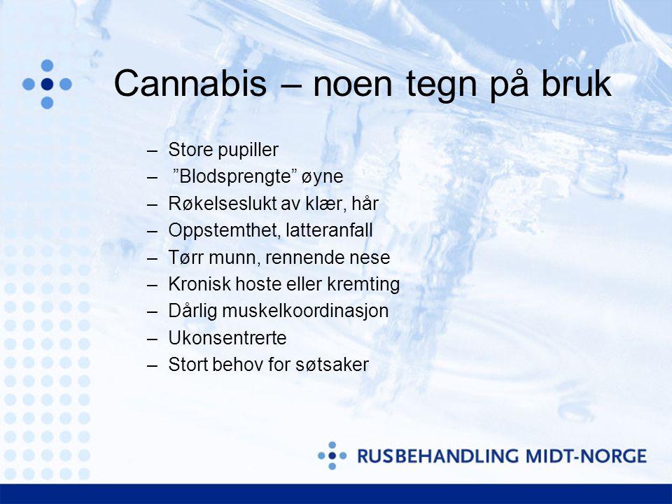 Cannabis – noen tegn på bruk