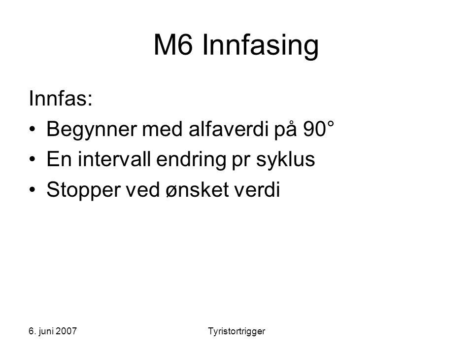 M6 Innfasing Innfas: Begynner med alfaverdi på 90°