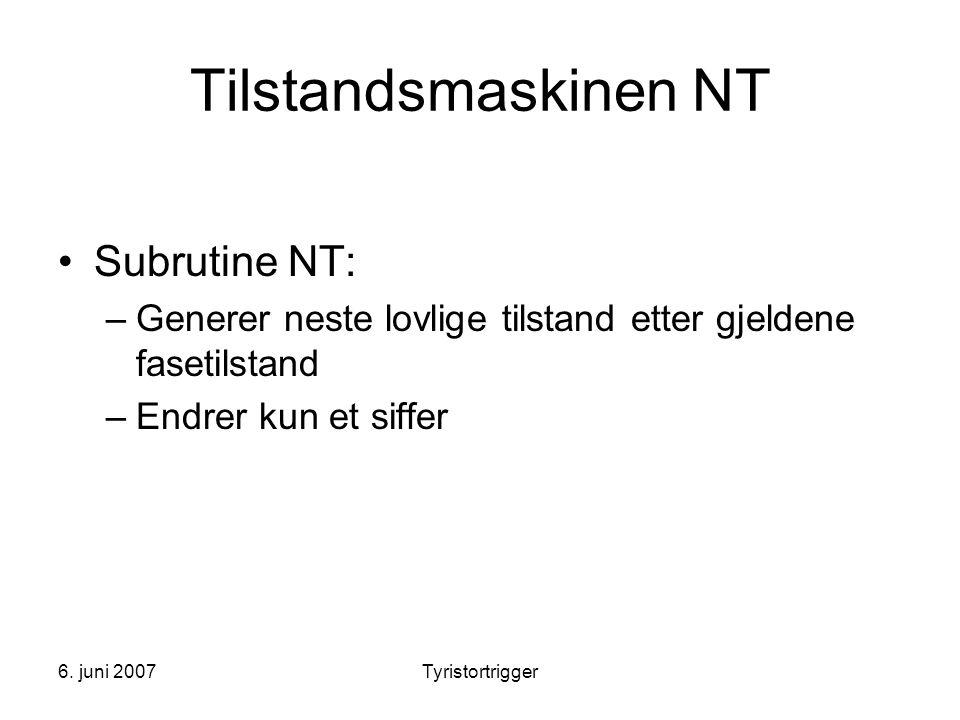 Tilstandsmaskinen NT Subrutine NT: