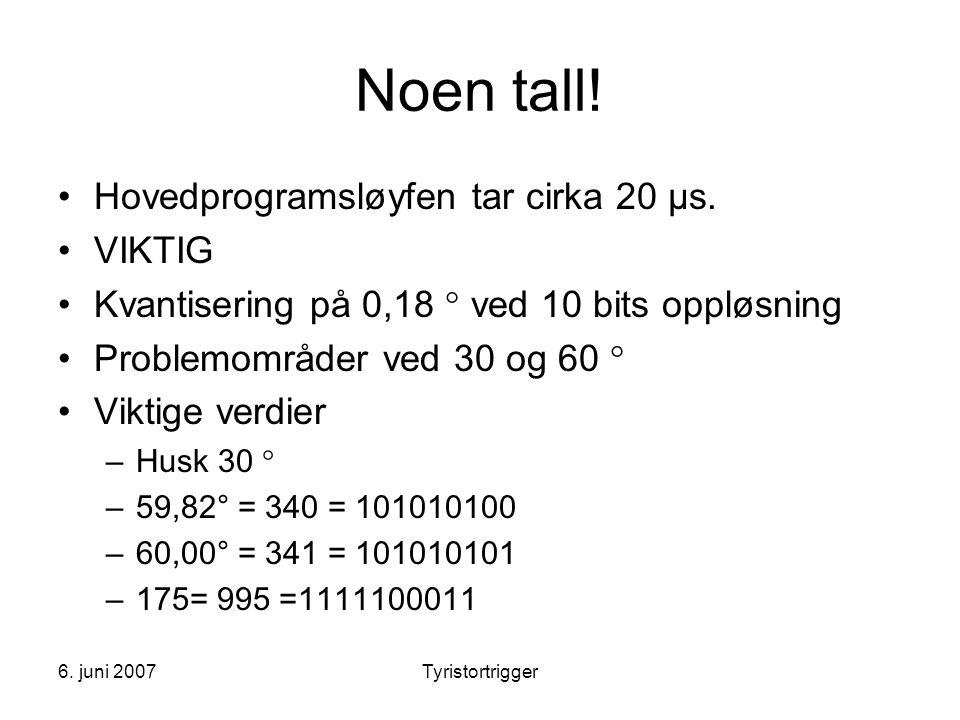 Noen tall! Hovedprogramsløyfen tar cirka 20 μs. VIKTIG