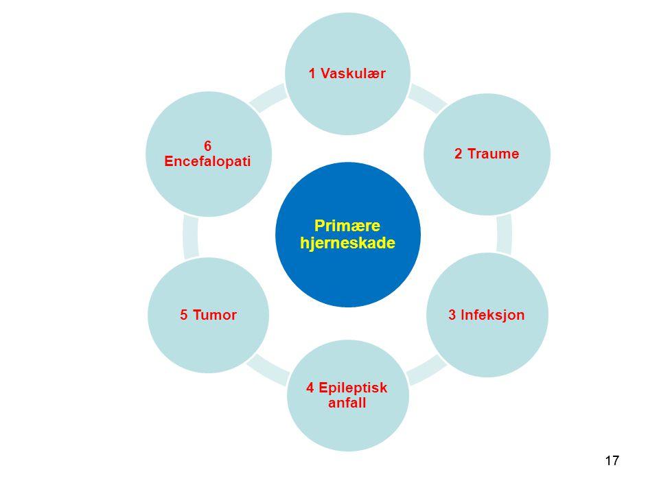 Primære hjerneskade 1 Vaskulær 6 Encefalopati 2 Traume 5 Tumor