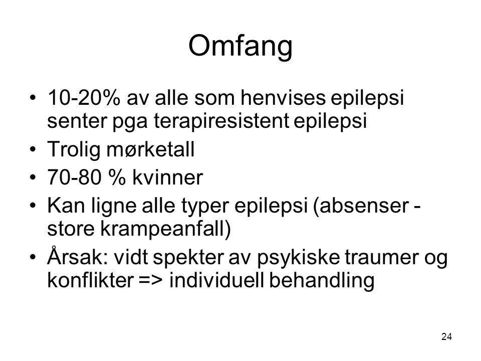 Omfang 10-20% av alle som henvises epilepsi senter pga terapiresistent epilepsi. Trolig mørketall.