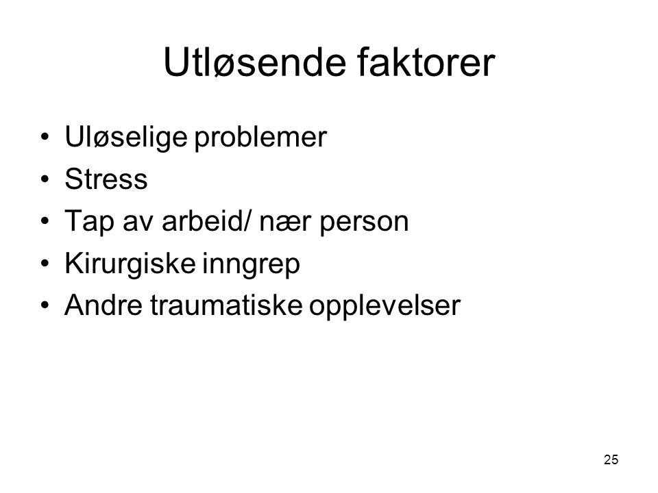Utløsende faktorer Uløselige problemer Stress