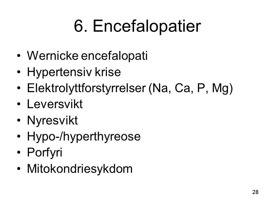 6. Encefalopatier Wernicke encefalopati Hypertensiv krise