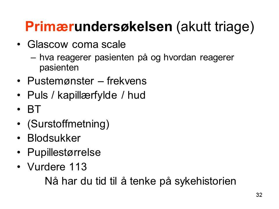 Primærundersøkelsen (akutt triage)