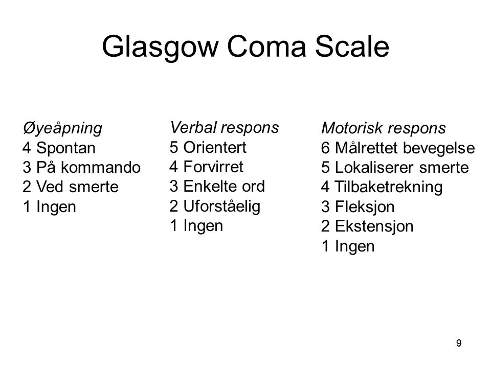 Glasgow Coma Scale Øyeåpning 4 Spontan 3 På kommando 2 Ved smerte