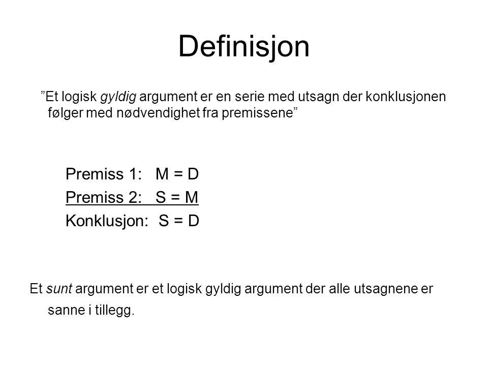 Definisjon Premiss 1: M = D Premiss 2: S = M Konklusjon: S = D