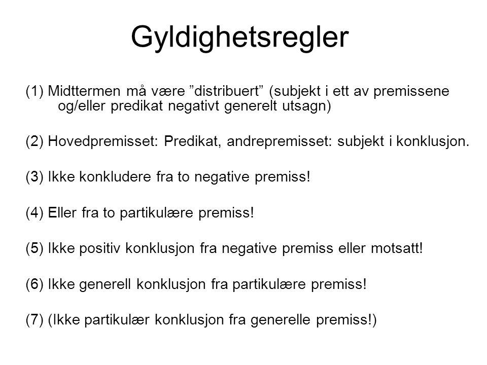 Gyldighetsregler (1) Midttermen må være distribuert (subjekt i ett av premissene og/eller predikat negativt generelt utsagn)
