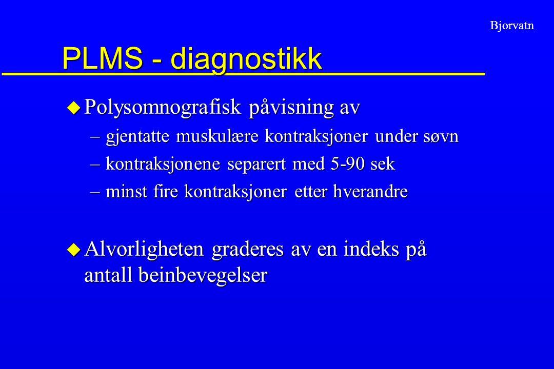 PLMS - diagnostikk Polysomnografisk påvisning av