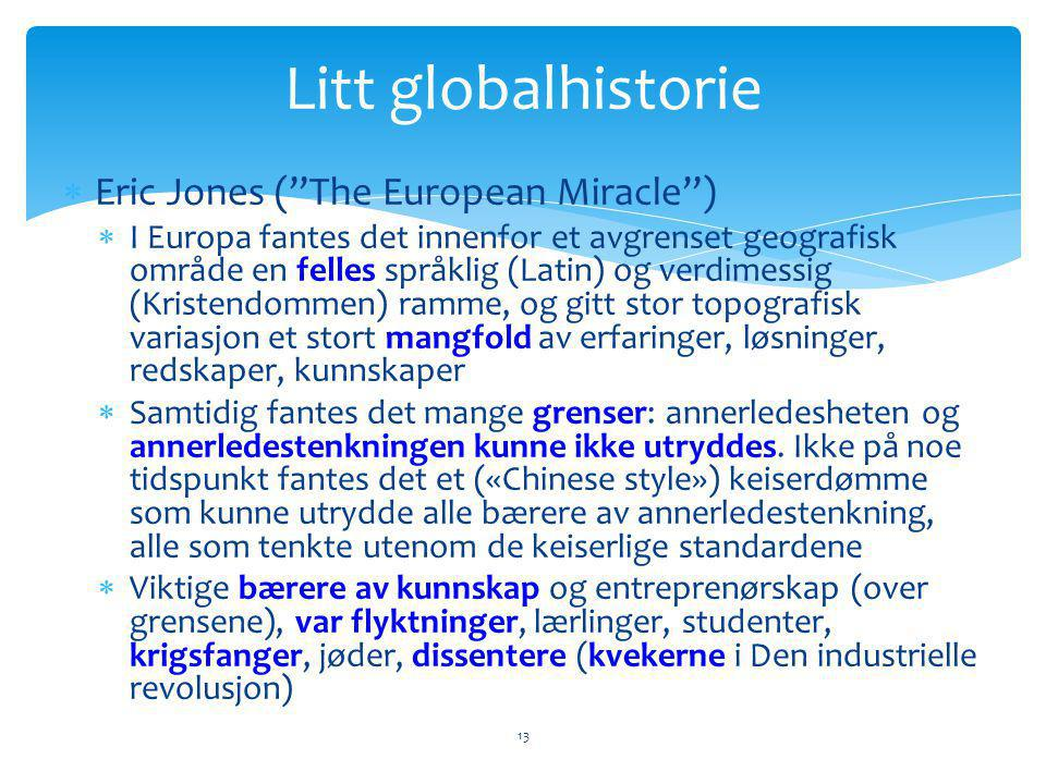 Litt globalhistorie Eric Jones ( The European Miracle )