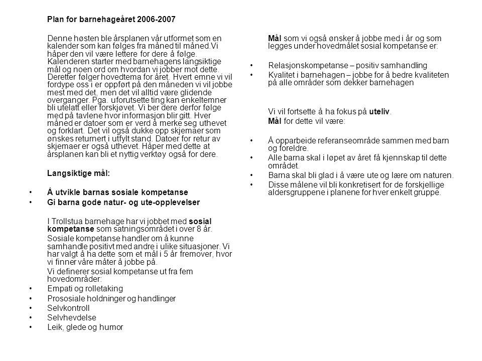 Plan for barnehageåret 2006-2007