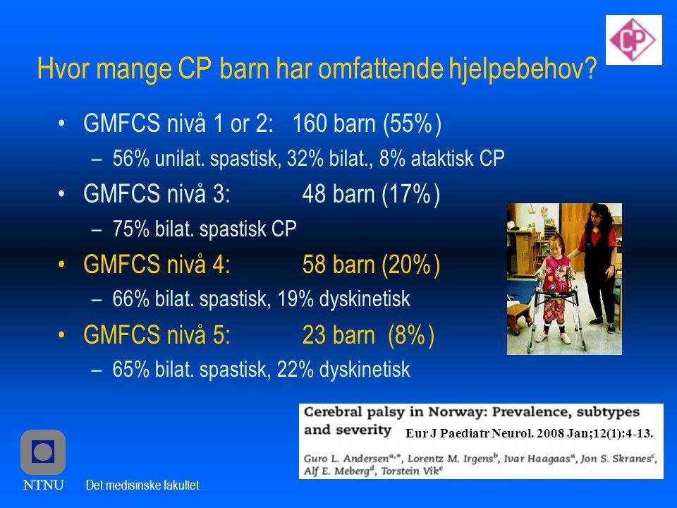 Hvor mange CP barn har omfattende hjelpebehov