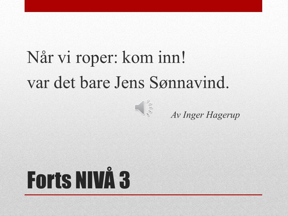 Forts NIVÅ 3 Når vi roper: kom inn! var det bare Jens Sønnavind.