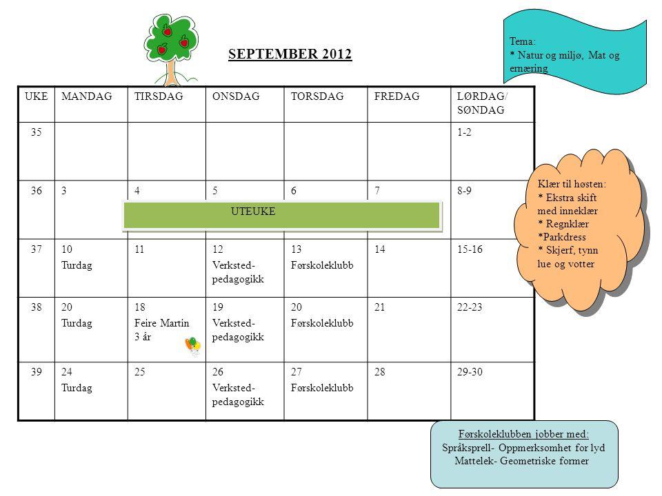 SEPTEMBER 2012 Tema: * Natur og miljø, Mat og ernæring UKE MANDAG