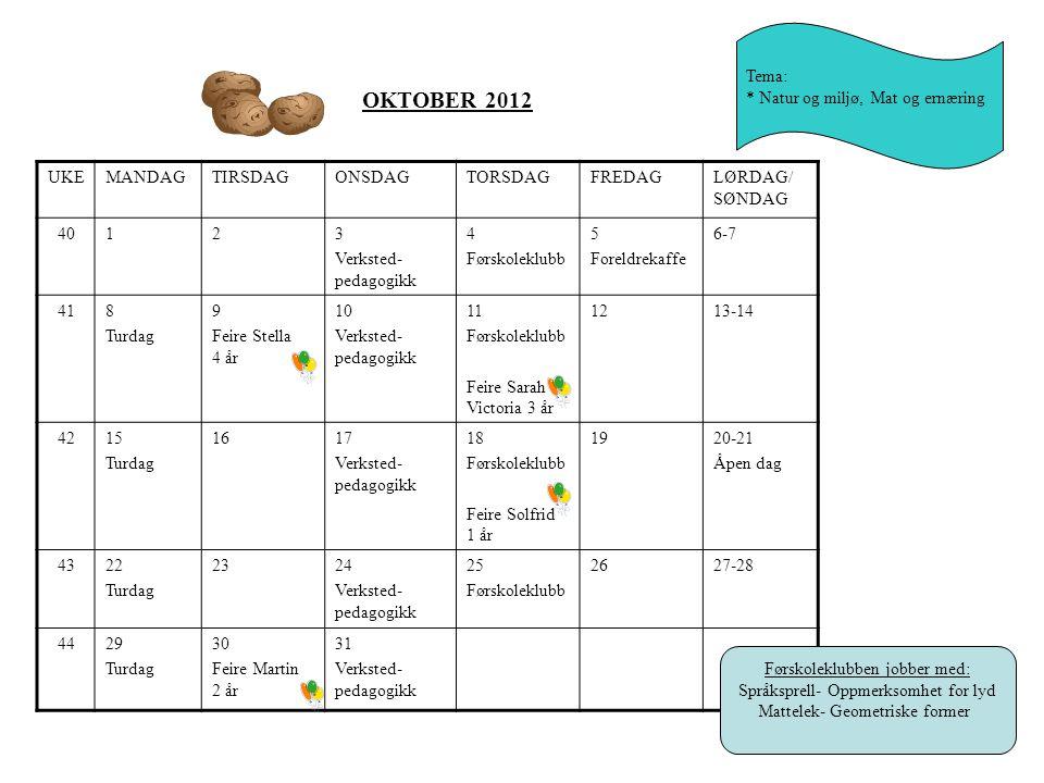 OKTOBER 2012 Tema: * Natur og miljø, Mat og ernæring UKE MANDAG