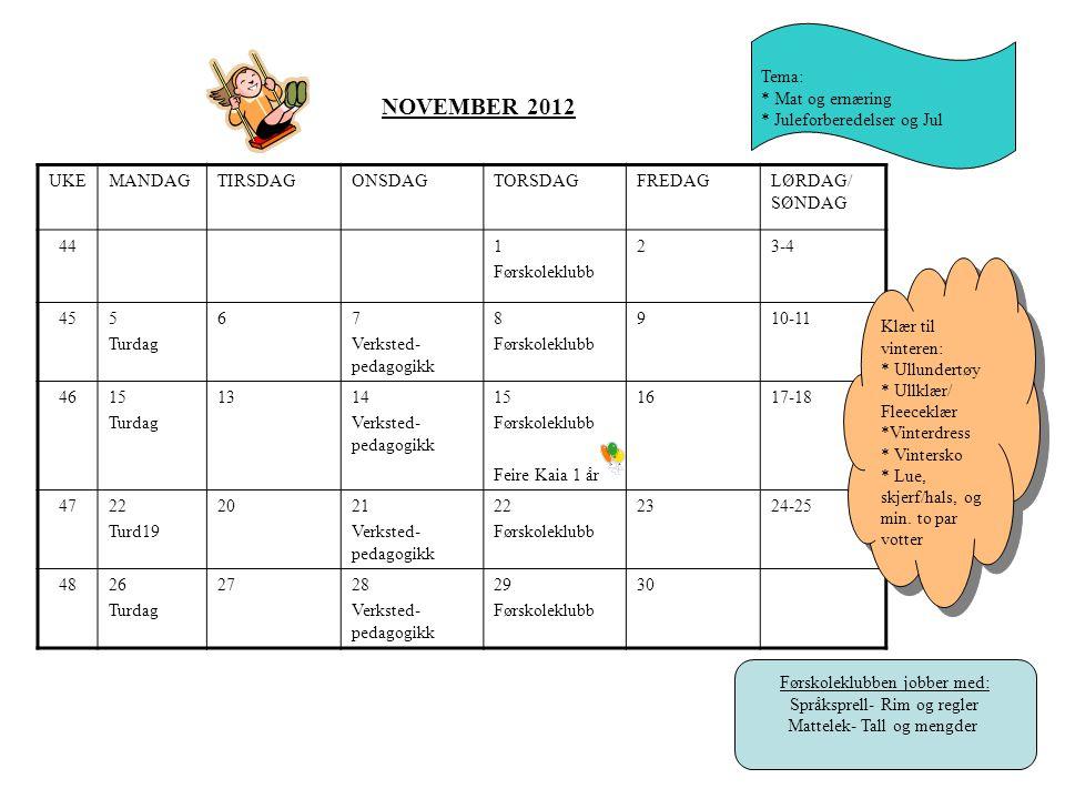 NOVEMBER 2012 Tema: * Mat og ernæring * Juleforberedelser og Jul UKE