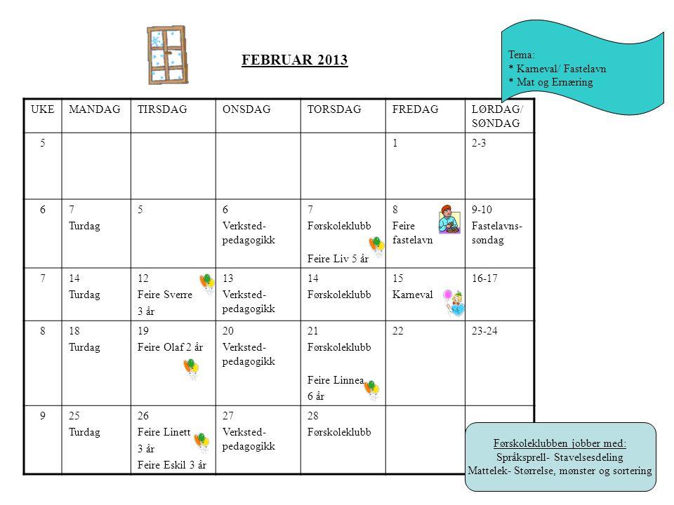 FEBRUAR 2013 Tema: * Karneval/ Fastelavn * Mat og Ernæring UKE MANDAG
