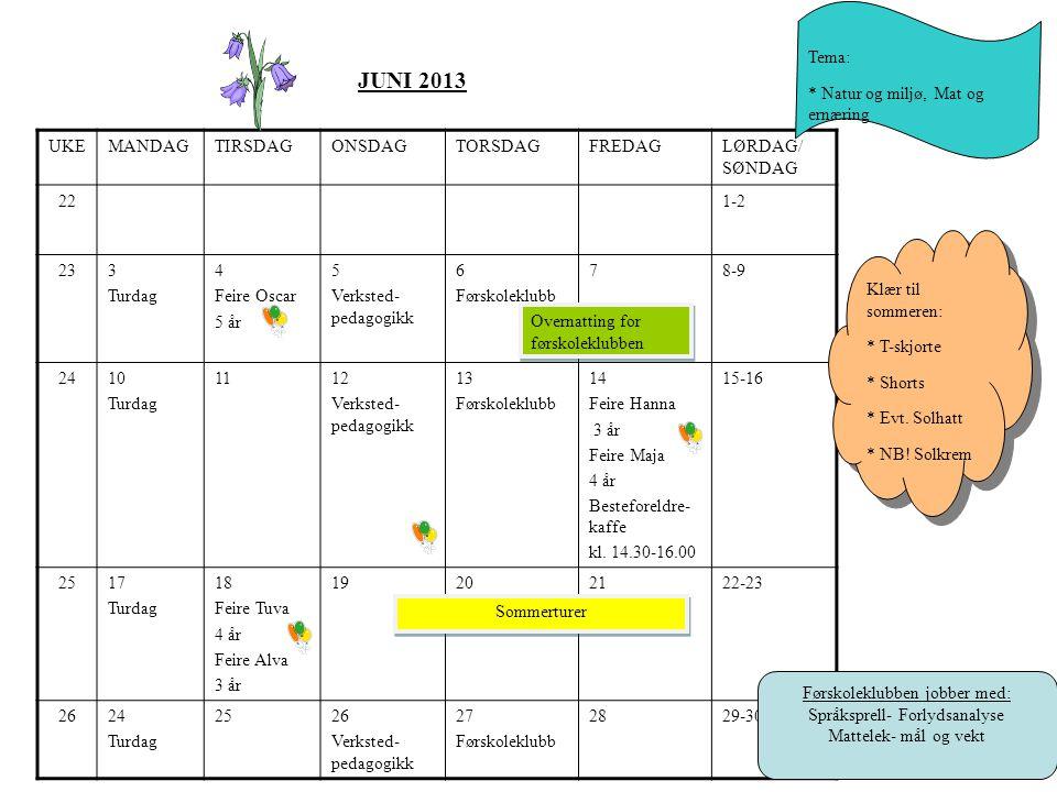 JUNI 2013 Tema: * Natur og miljø, Mat og ernæring UKE MANDAG TIRSDAG