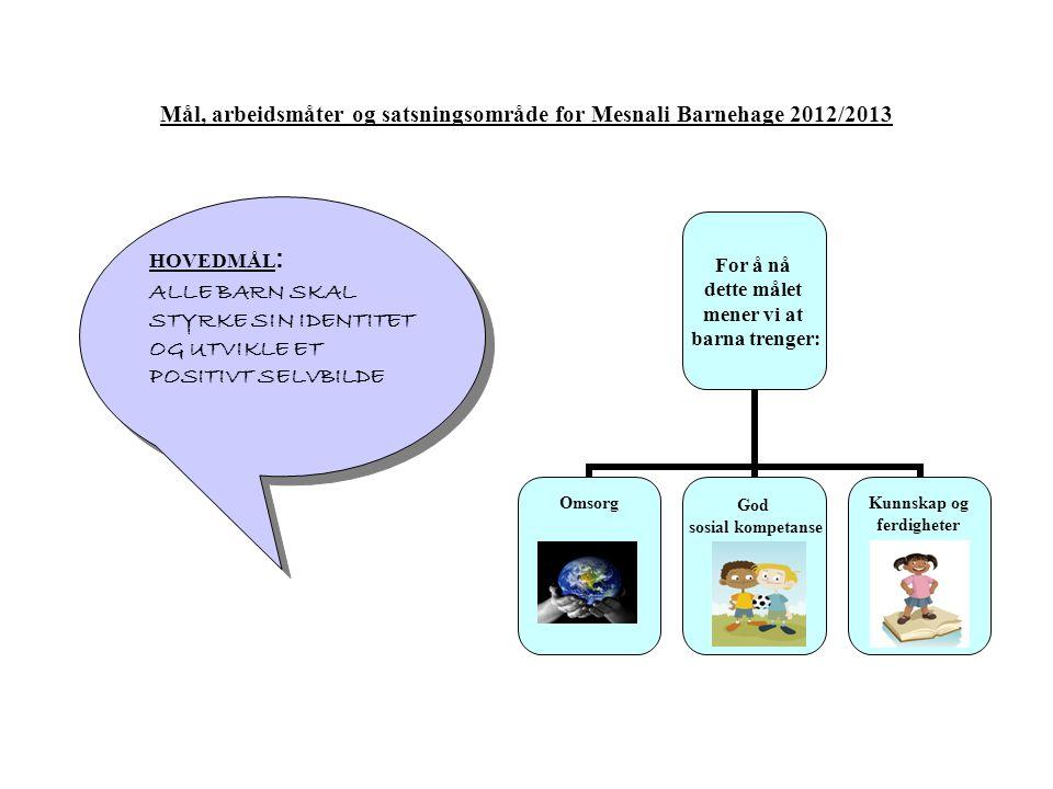 Mål, arbeidsmåter og satsningsområde for Mesnali Barnehage 2012/2013