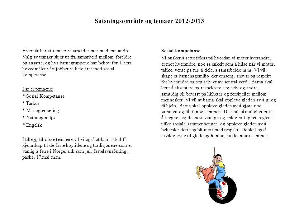 Satsningsområde og temaer 2012/2013