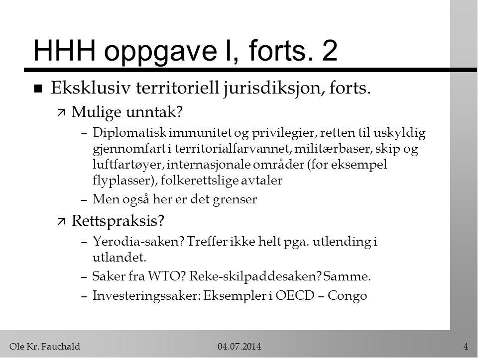 HHH oppgave I, forts. 2 Eksklusiv territoriell jurisdiksjon, forts.
