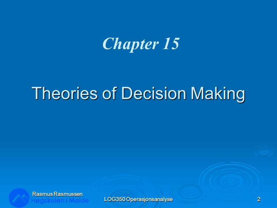 Theories of Decision Making