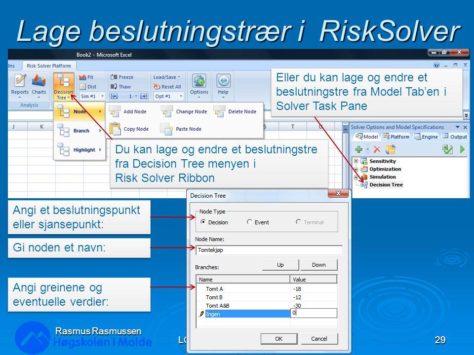 Lage beslutningstrær i RiskSolver